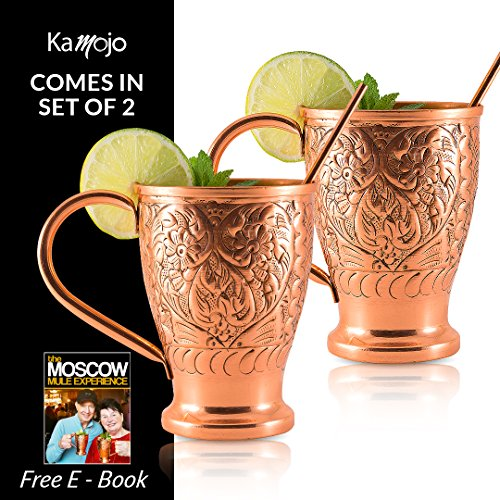 Moscow Mule Copper Mugs - Stunning Embossed Gift Set of 2 Pure Copper Cups - Straws/Stir Sticks. By Kamojo