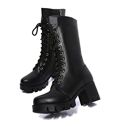 cd5a6f8411 Image Unavailable. Image not available for. Color: Shybuy Vintage Women's  Mid-Calf Lace Up Boots Sexy Platform Chunky High Heel Long Leisure