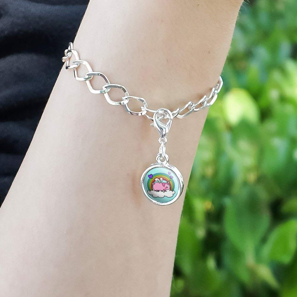 GRAPHICS /& MORE Cute Unicorn Pig with Rainbow Antiqued Bracelet Pendant Zipper Pull Charm with Lobster Clasp