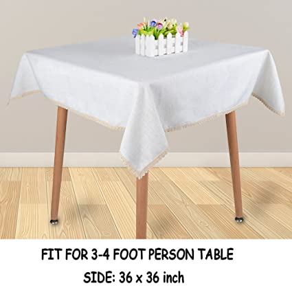 Beau MANVEN Square Tablecloths 60 X 60 For Dining Table Linen Ivory White,Fabric  Table Cloth