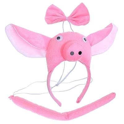 BESTOYARD Disfraz de Cerdo para Niños Diadema Animal Conjunto de Orejas Animal Cola y Pajarita Traje de Costume para Halloween Fiesta 3 Piezas Cerdo: Juguetes y juegos