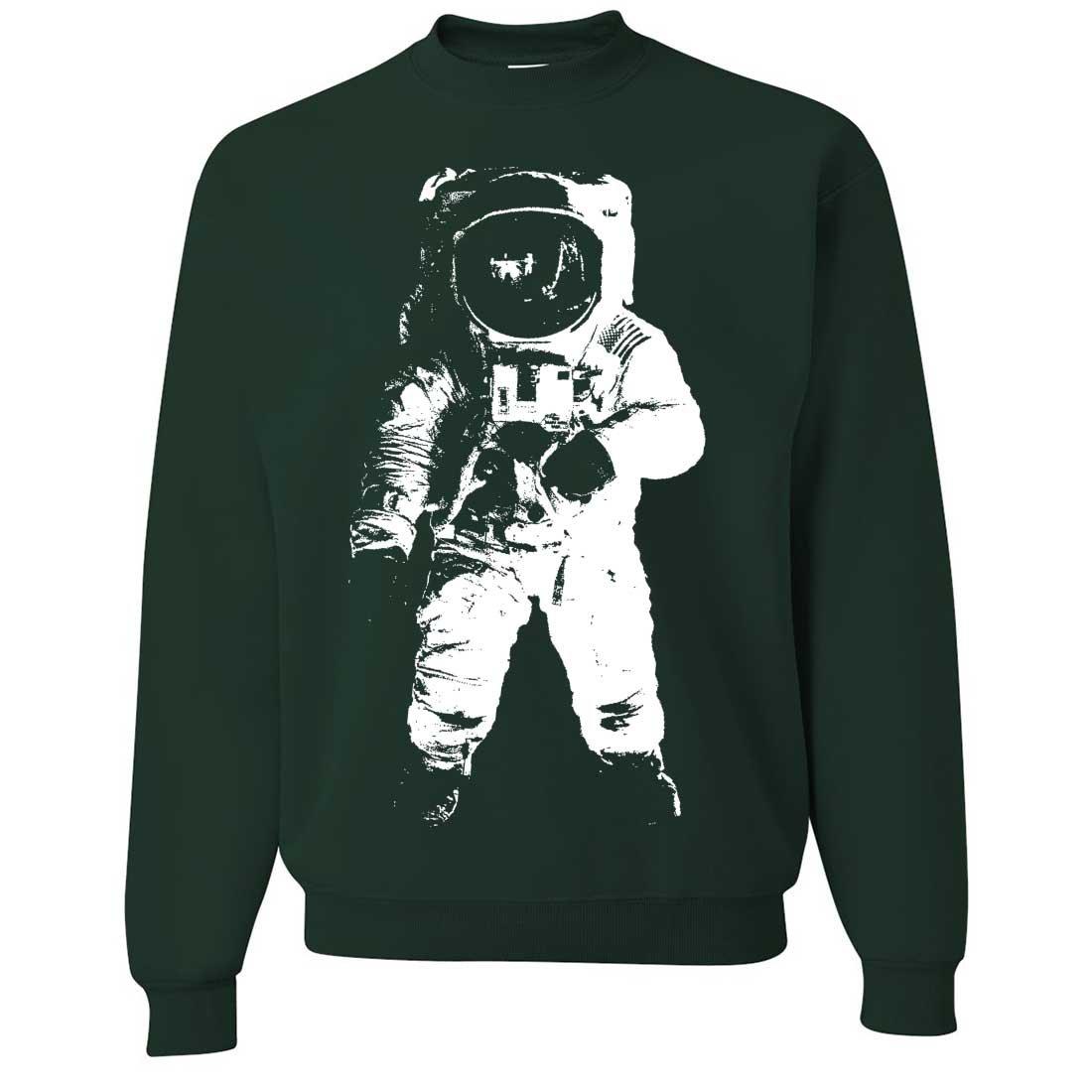 816ddd3a936b Amazon.com  Space Astronaut Man on the Moon White Print Crewneck Sweatshirt   Clothing