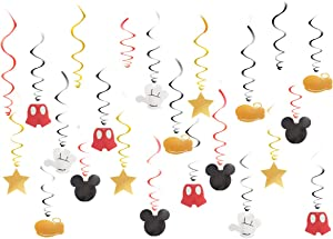 30 pc Mickey/Minnie Hanging Swirl Decorations - Ceiling Streamers for Mouse Party –Mickey/Minnie Mouse Theme Party Supplies – Party Favors for Kids (Mickey)