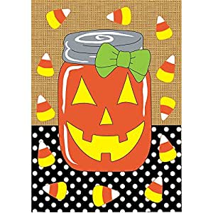Candy Corn Burlap Polka Dot Mason Jar Jack-O-Lantern 30 x 44 Halloween Large House Flag