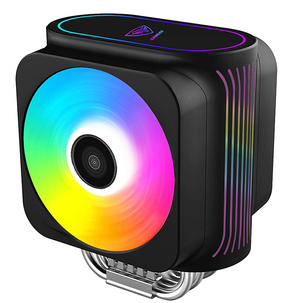 Pccooler GI-D66A CPU Cooler Moonlight Series | Dual Silent CPU PWM Fan 120mm | E-Sports Plexiglass Top Cover Sync with ARGB Lights | 6 Direct Contact Heat Pipes for Intel Core i7/i5/i3, AMD Series by PCCOOLER