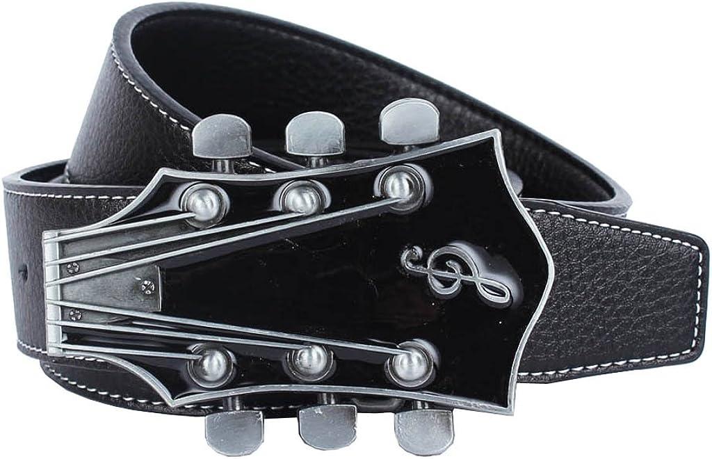 120cm Black Blesiya Retro Black Brown Leather Strap Belt Buckle Vintage Alloy Guitar Music Buckle For Women Men