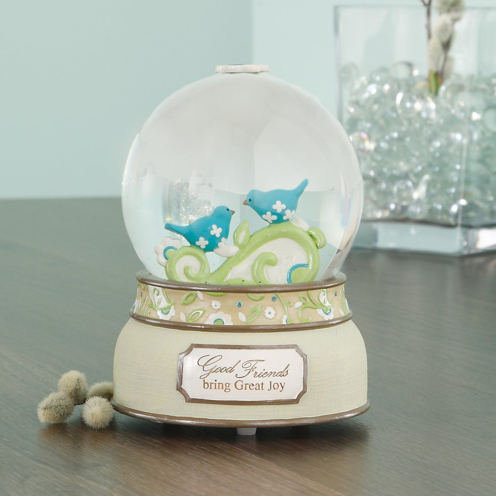 Pavilion Gift Company Perfectly Paisley Good Friends 100mm Musical Water Globe with Tune That s What Friends are for, Reads Good Friends Bring Great Joy, 6-Inches Tall