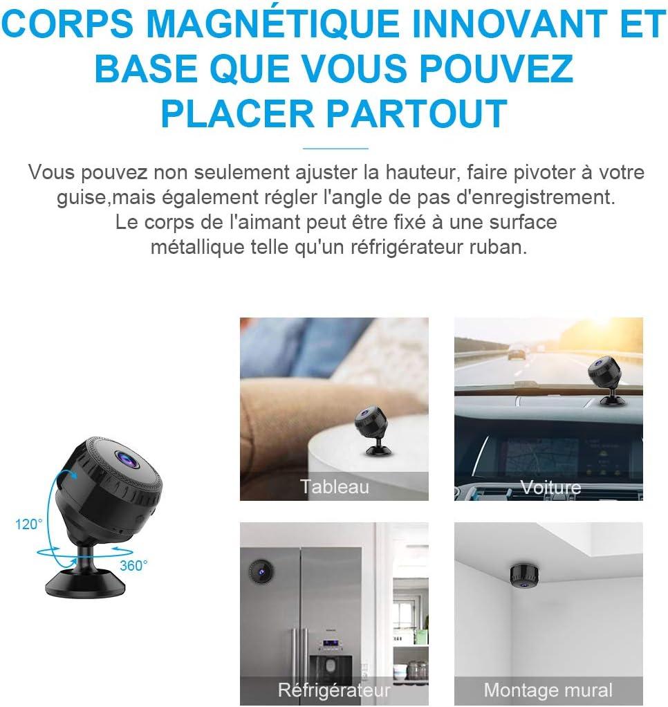 Mini Camera Espion WiFi,aobo Micro Cam/éra Surveillance Sans Fil 1080P Full HD Vision Nocturne Smartphone Bebe IP Cameras Cach/ée Sur Batteries D/étection de Mouvement Spy CAM pour Int/érieure//Ext/érieure