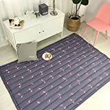 BuLuTu Rugs Cotton Pink Flamingo Print Pattern Girls Area Rugs Thick Kids Play Mat Indoor For Living Room Bedroom Décor,55''×79''
