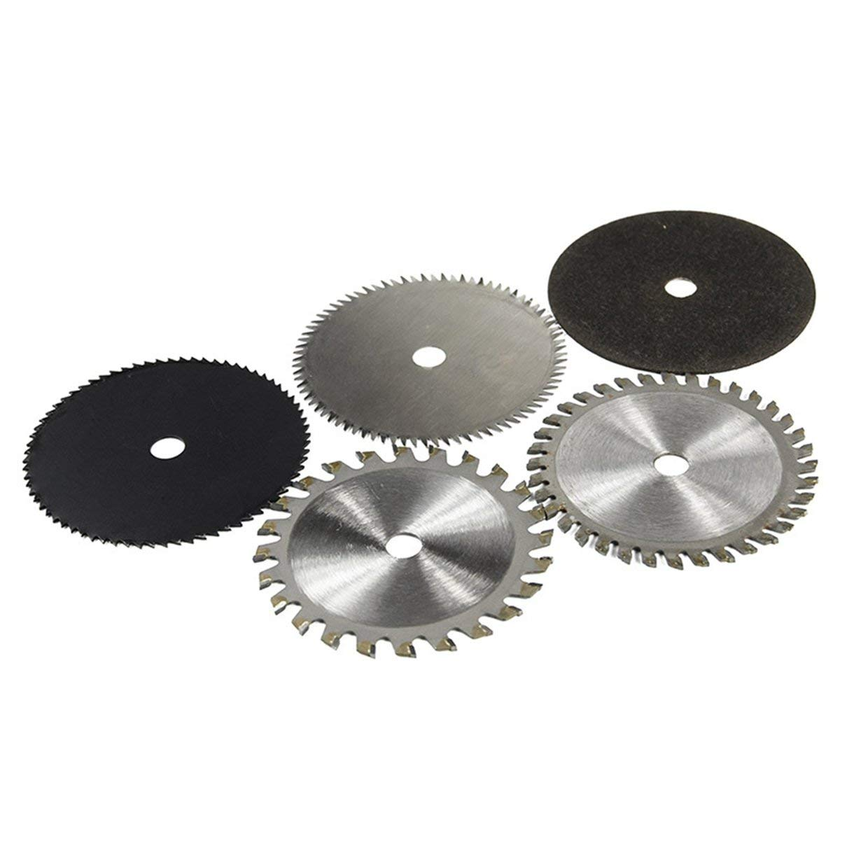 5PCS HSS TCT Sierra circular Herramienta rotativa 85x10MM Discos de corte de madera set Silver /& Black
