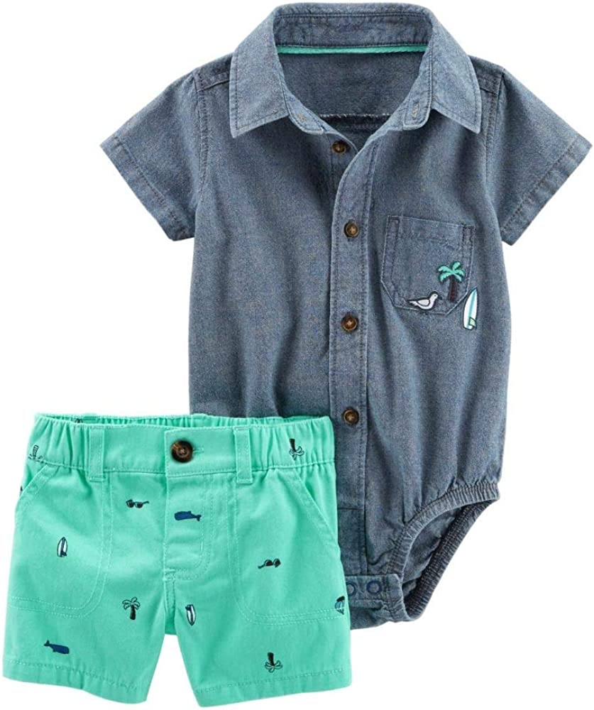 Mint Chambray Bodysuit /& Twill Short Set Carters Boys 2 Pc 18m