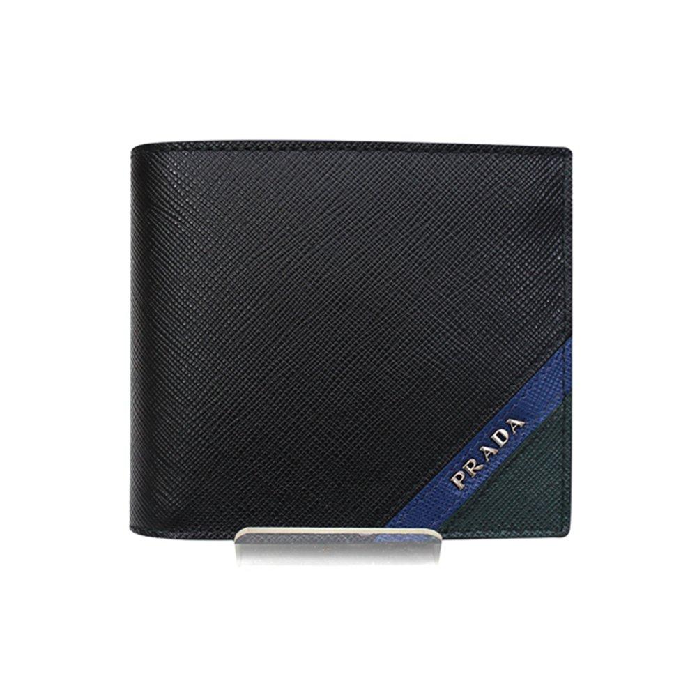 [プラダ PRADA] メンズ レザー 二つ折り財布 BLACK系 [並行輸入品] B07F2G3B27