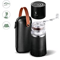 -Soulhand Portable Coffee Grinder Set,Manual Coffee Grinder with Adjustable Ceramic Burr and Foldable Hand Crank, All -in-One Coffee Maker for Travel Camping Working Office (with Storage bag -Black)