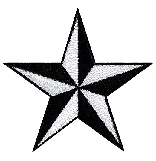 Black White Nautical Star Embroidered Iron On Patch Naval Compass Symbol Emblem