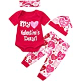 Lehvoss Baby Girls Boy Short Sleeve First Valentine's Day Romper Tops+Pants+Hat+Headband Outfits Gift