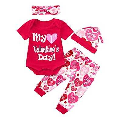 e49dbd8d9a05 Amazon.com  First Valentine s Day Romper+Love Heart Pants+Hat+ ...