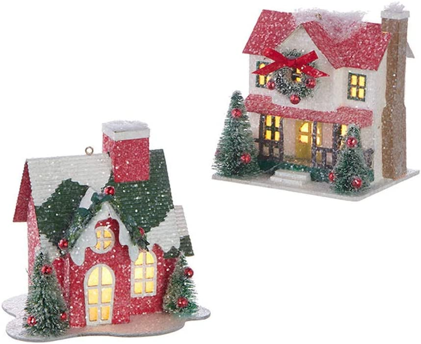 RAZ Imports 2020 Home for The Holidays 4.75-Inch Lighted House Ornament, Assortment of 2