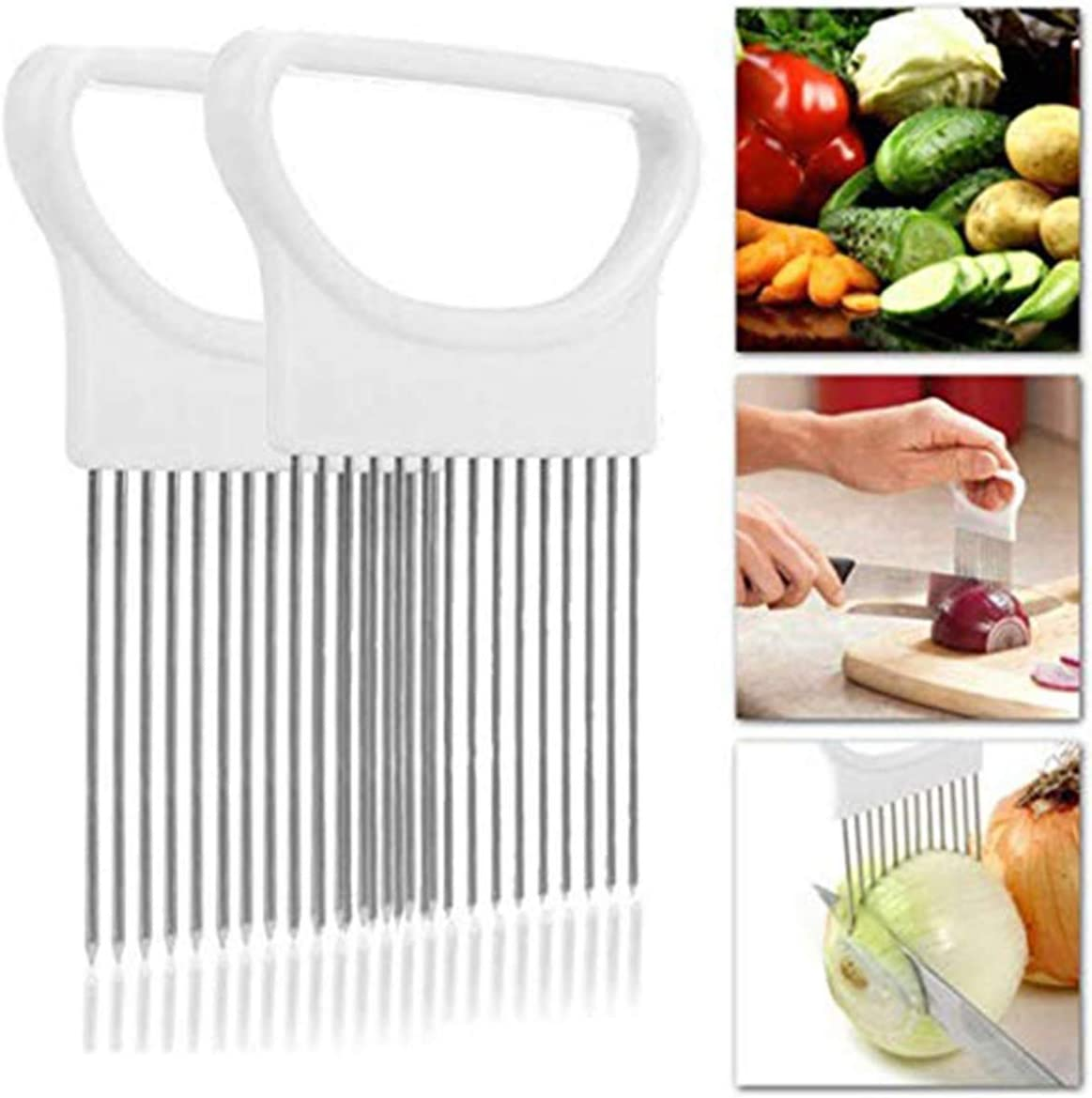Onion Holder Slicer Cutter Chopper - Tomato Vegetable Lemon Potato Cutter Slicer Odor Remover (White+White)