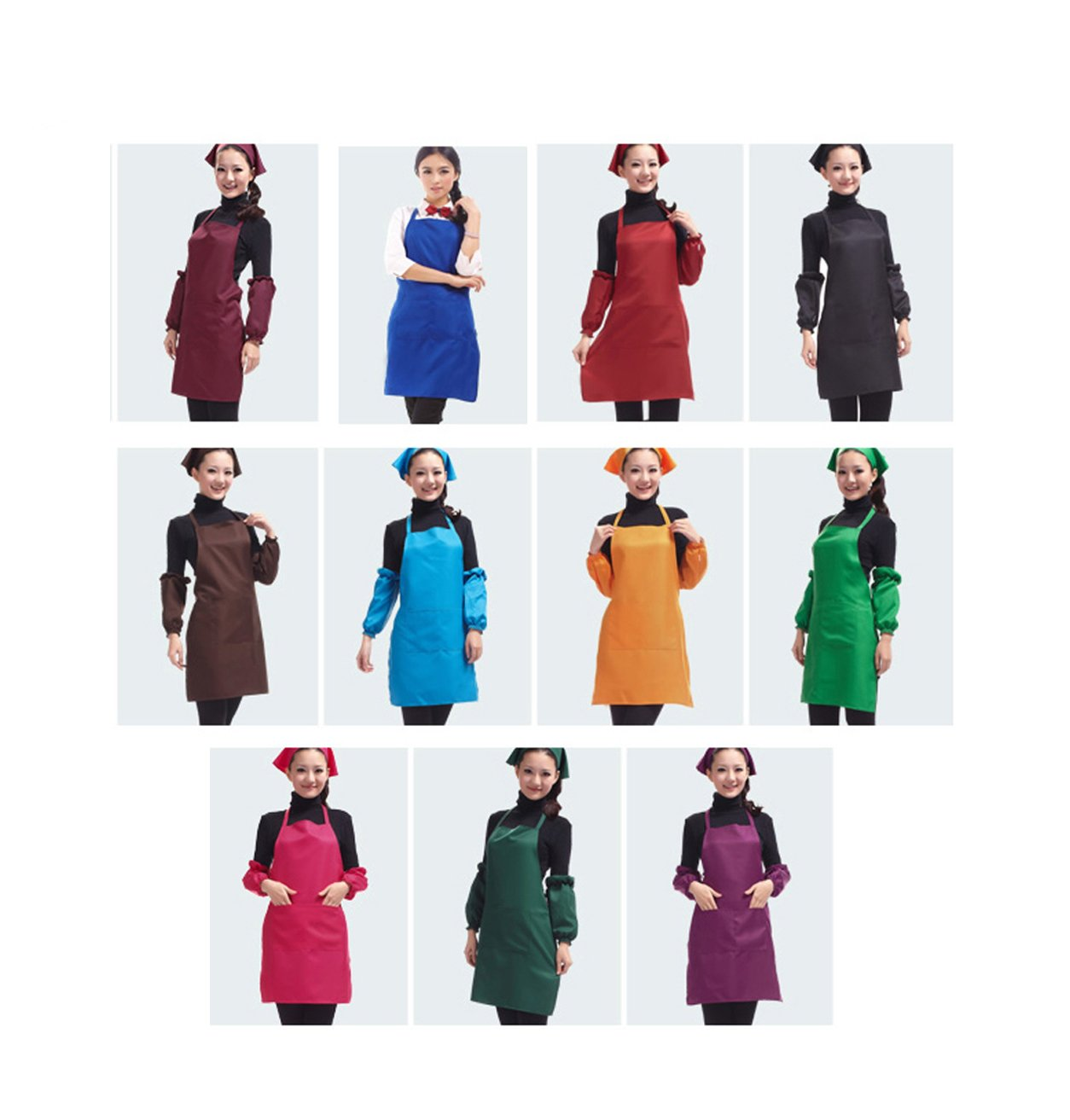 Total 11 PCS Plain Color Bib Apron Adult Women Unisex Durable Comfortable with Front Pocket Washable For Cooking Baking Kitchen Restaurant crafting by Abizoe