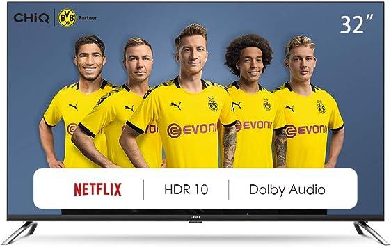 CHiQ Televisor Smart TV LED 32 Pulgadas, HD, HDR, Sintonizador Triple (DVBT / T2 / C / S2), Dolby Audio, Bluetooth, WiFi, Netflix, Prime Video, Youtube, 2 x HDMI, 1 x USB: Amazon.es: Electrónica