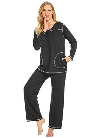 e29a0b142 Ekouaer Women s Pyjamas Long Sleeve Sleepwear Casual V Neck Loungewear PJ  Set(Black