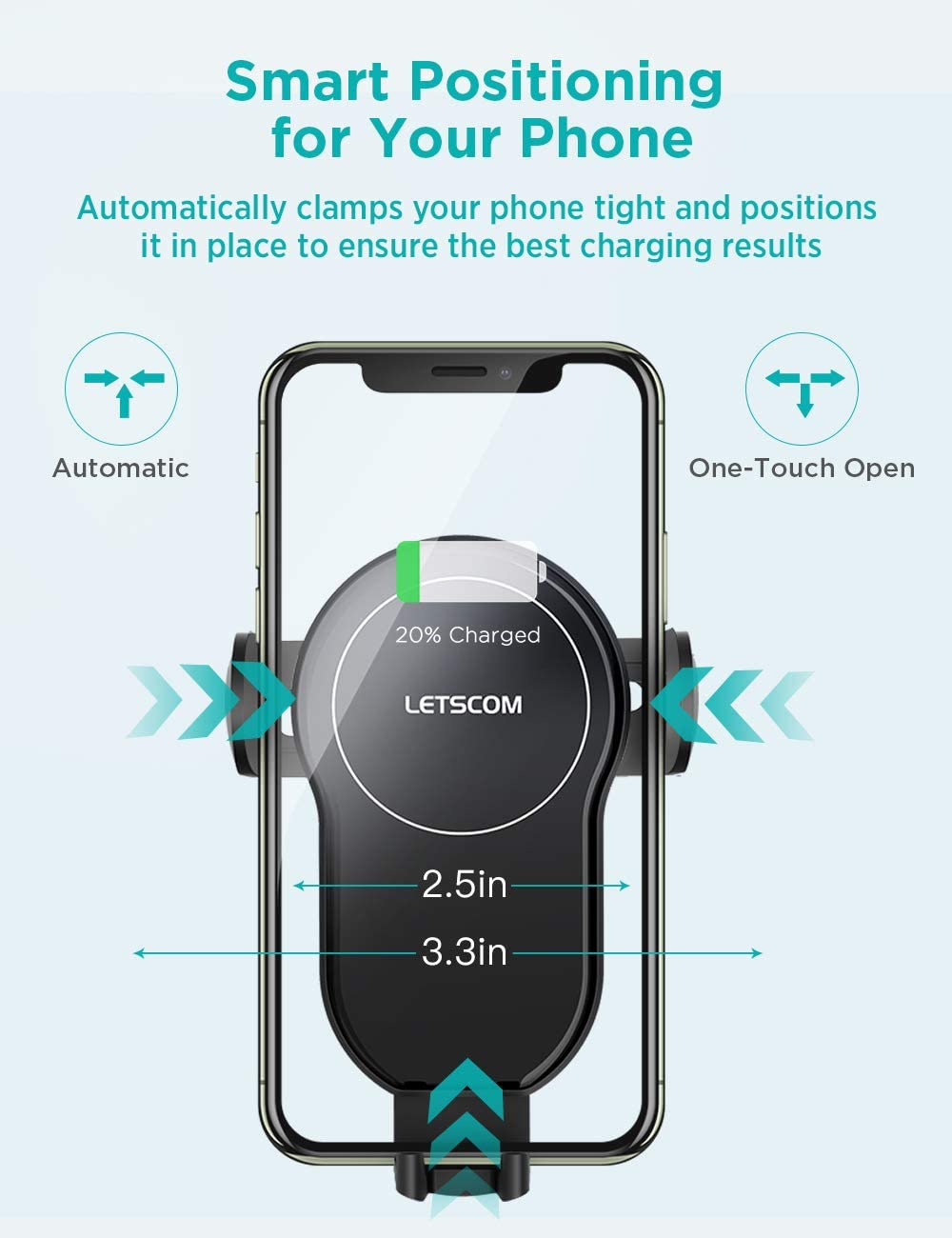 LETSCOM Wireless Car Charger,15W Qi Fast Charging Car Mount Charger Auto-Clamping Smart Positioning Air Vent Phone Holder Compatible with iPhone11//11Pro//11Pro Max//XS//XR//X//8//8+,SamsungS10//S10+//S9//S8