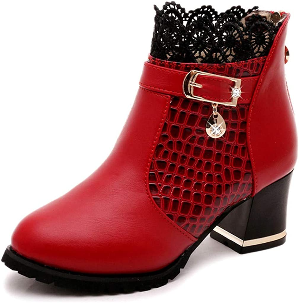 US 5.5-8.5 Womens Ankle Boots,Ladies Solid Round Toe Vintage Leather Lace Mid Heel Casual Fashion Short Boot Shoes