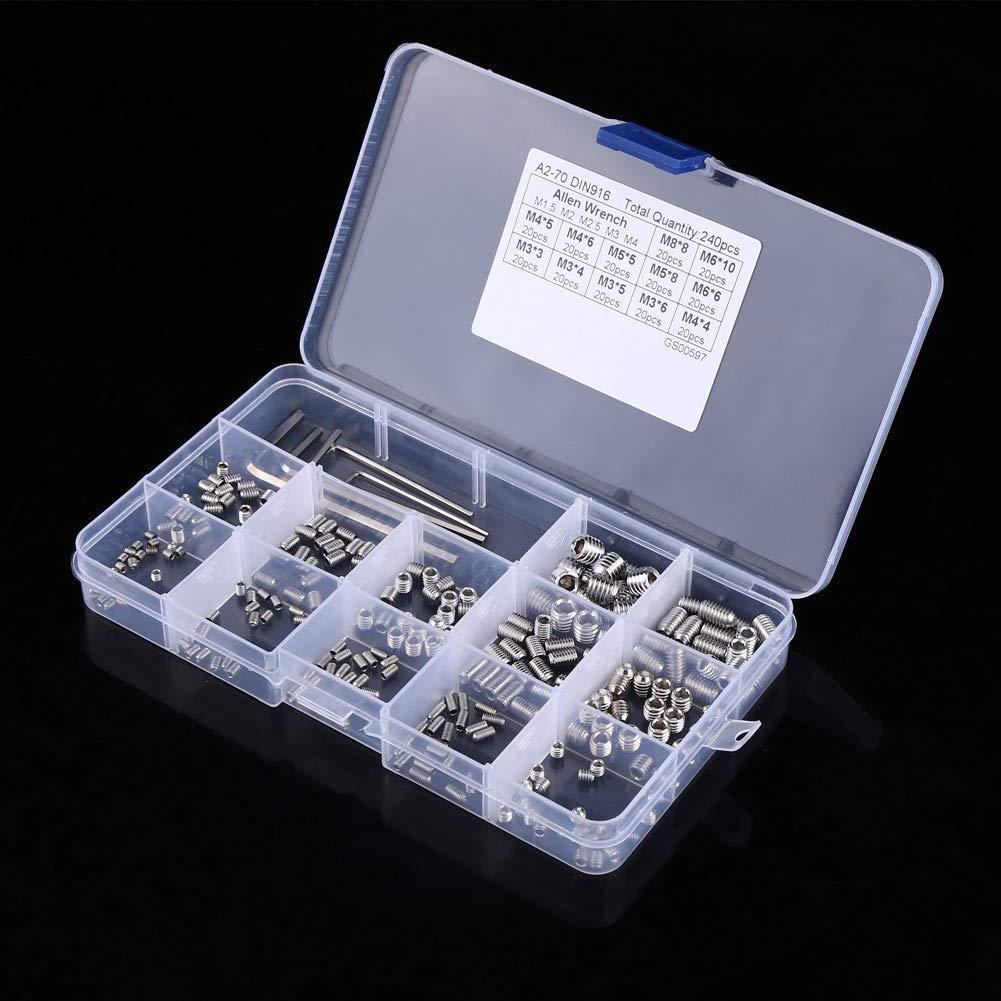 Madenschraubensatz 240 St/ück M3//M4//M5//M6//M8 Schraubensortiment Kit Sechskantbuchsensatz Edelstahl mit Sechskantschl/üsseln in transparenter Box 12 g/ängige Gr/ö/ßen
