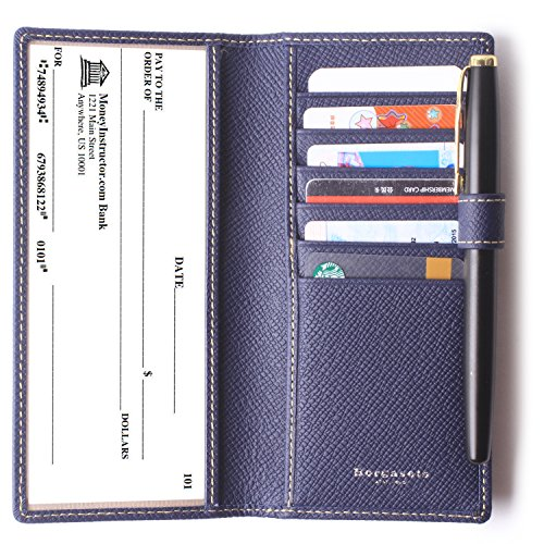 Genuine Leather Checkbook Cover For Men & Women - Checkbook Covers with Card Holder Wallet RFID Blocking (Blue) by Borgasets