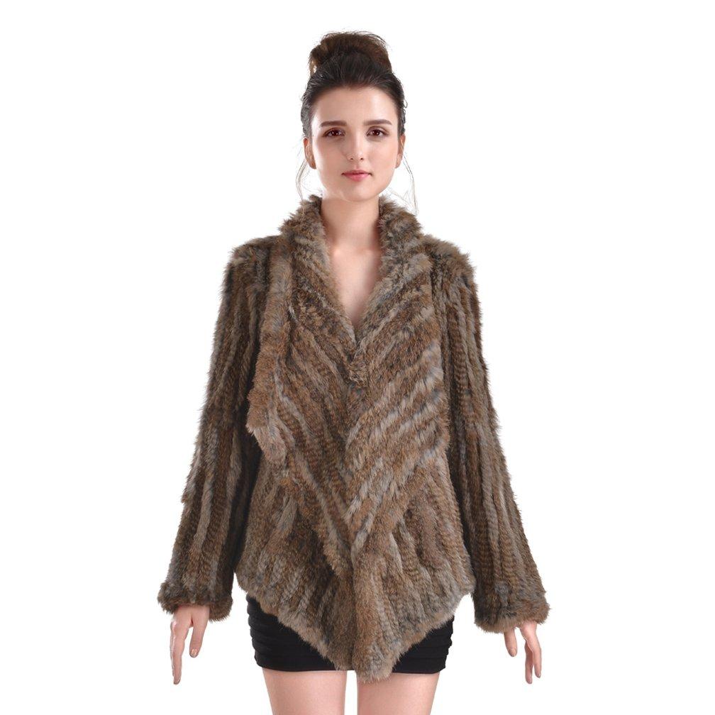 OLLEBOBO New Women's Genuine Rabbit Fur Coat Cardigan Fashion and Warm brown and grey