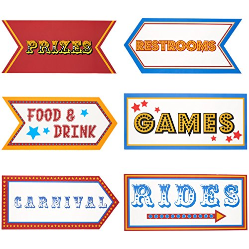 Carnival Party Supplies - 6-Pack Word Cutouts Signs for Theme Party Decorations, Kids Birthday Party Favors on 350 GSM Cardstock Paper, 17.5 x 8 Inches -
