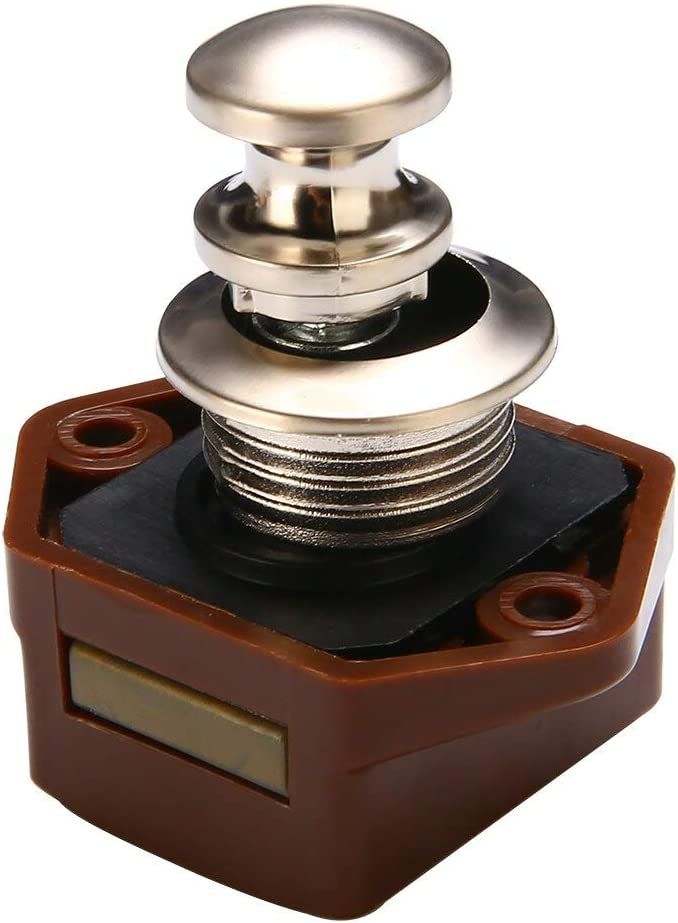 HARIKA Mini Drawer Cabinet Push Lock Button Catch Lock Door Knob Camper Caravan Motorhome RV Drawer Latch Button Locks Hardware