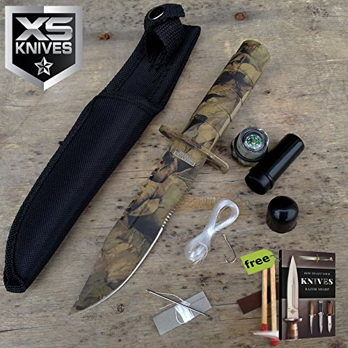 "8.5"" Fixed Blade Light Brown Woodland CAMO Survival Carbon Steel Sharp Tactical Fixed Blade Knife with Sheath JV92 + Free eBook by SURVIVAL STEEL"