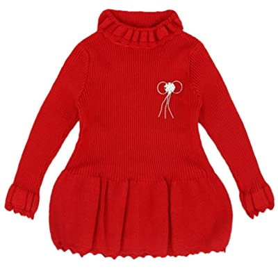 330f67888 Collager Baby Girls Sweater Pullover Dresses Tops with Brooch