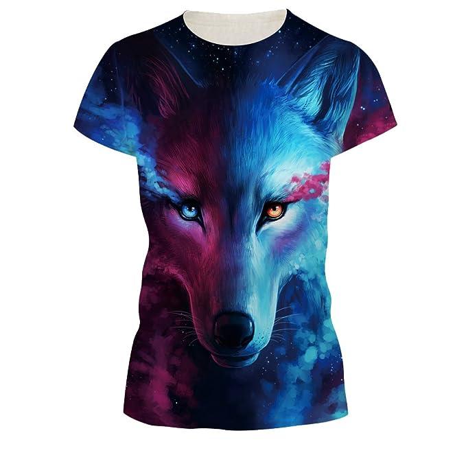 SEVENWELL Camiseta de Impresión de Moda Unisex Camiseta de gráficos Divertidos 3D de gráficos Digitales C4OcR