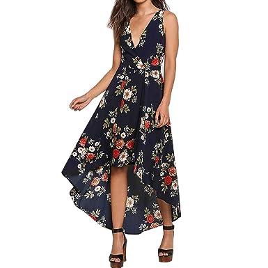 1ba7beef0687 ☀️Frauen Blumen Boho langes Kleid VENMO Lady Beach Sommer Sommerkleid  Maxikleider Cocktailkleid Schulterfrei Sommerkleid Blumen