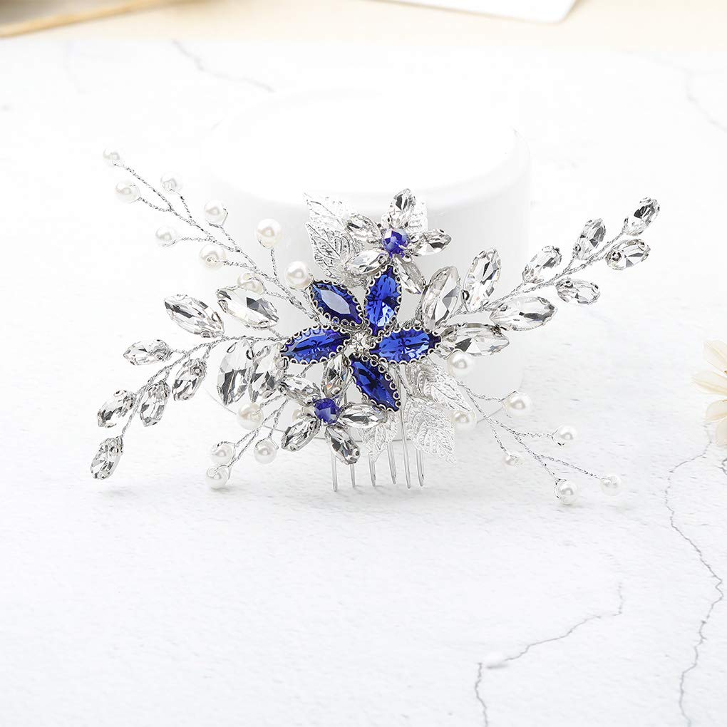 Olbye Wedding Hair Comb Blue Rhinestone Bridal Hair Accessories for Bride and Bridesmaids Wedding Hair Piece Silver by Olbye (Image #1)