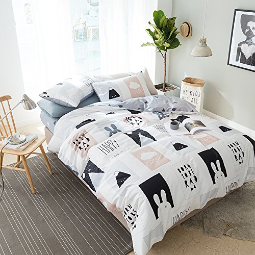 AMWAN Cartoon Rabbit Print Kids Bedding Duvet Cover Set Cotton Geometric Reversible Bedding Set Queen Boys Girls Duvet Comforter Cover Set 3 Piece Children Bedding Collection Queen Bed for Summer by AMWAN (Image #2)