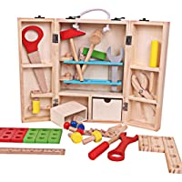 ZKMESI Wooden Construction Toy Sets Pretend Play Tool Box Building Block Games Tool Educational Recognition Toys for Preschool Kids