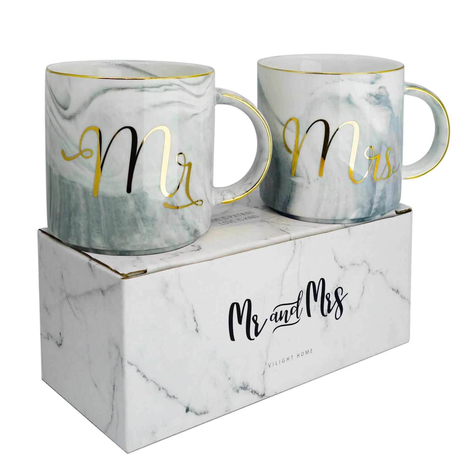 Vilight Engagement Wedding and Bridal Shower Couple Gifts - Mr & Mrs EST 2018 Coffee Cups - Ceramic Marble Tumbler 11.5 oz CPCUP-04