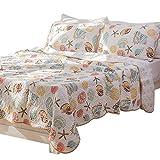 YOUSA Beach Shell Tread Design Comforter Quilt Bedspeads Sets Queen Summer Quilt