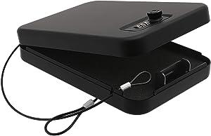 "Dalmbox Small Car Gun Safe for Pistols Small Handgun Lock Box with Combination Lock Portable Travel Pistol Safe for Car, Home, Travel (1.8""X 6.5 ""X 9.7"