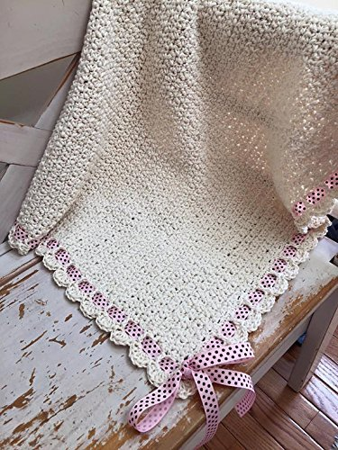 Organic Cotton Hand-Crocheted Baby Blanket/Afghan by Kat's Keepsakes