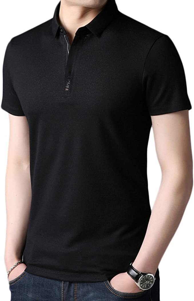 Cuello De Hombre Camiseta De Manga Corta Camisa con Mangas De ...