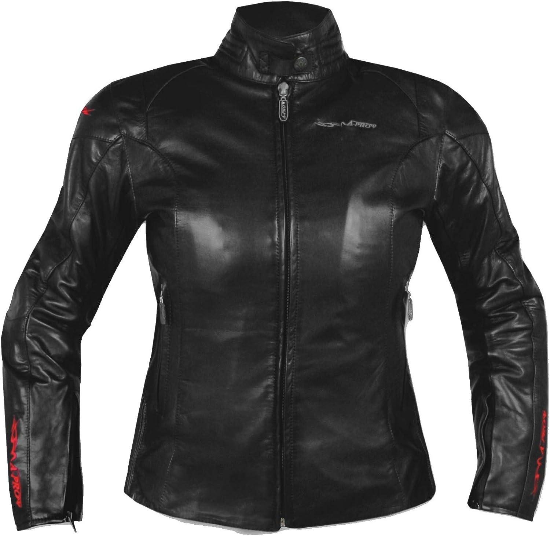 A-pro Femme Blouson Cuir Veau Protections CE Interne Thermique Lady Bike noir S