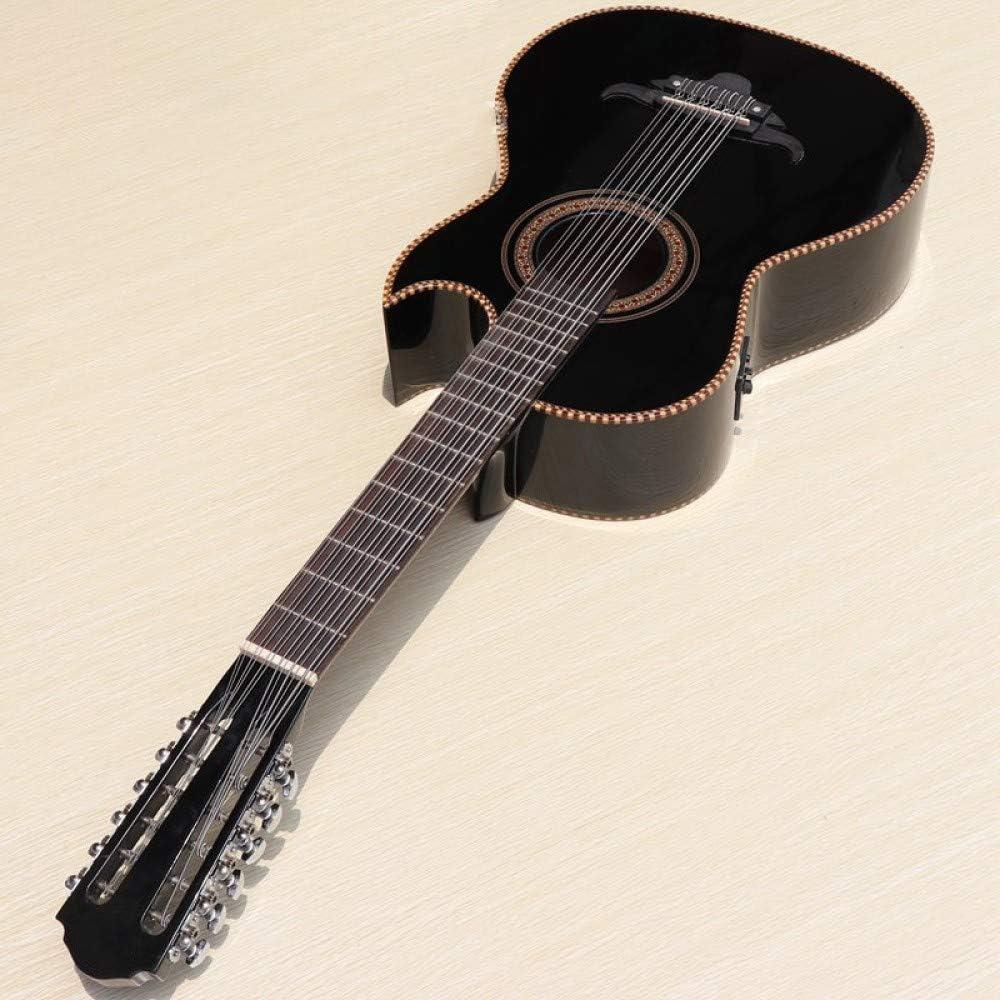 LOIKHGV Guitarras- Guitarra clásica eléctrica Negra de 12 Cuerdas de 10 Cuerdas función de sintonizador, 12 CuerdasNegra, 39 Pulgadas