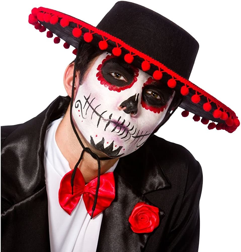 Adult Black Senor Hat Fancy Dress Accessory Day Of The Dead ...