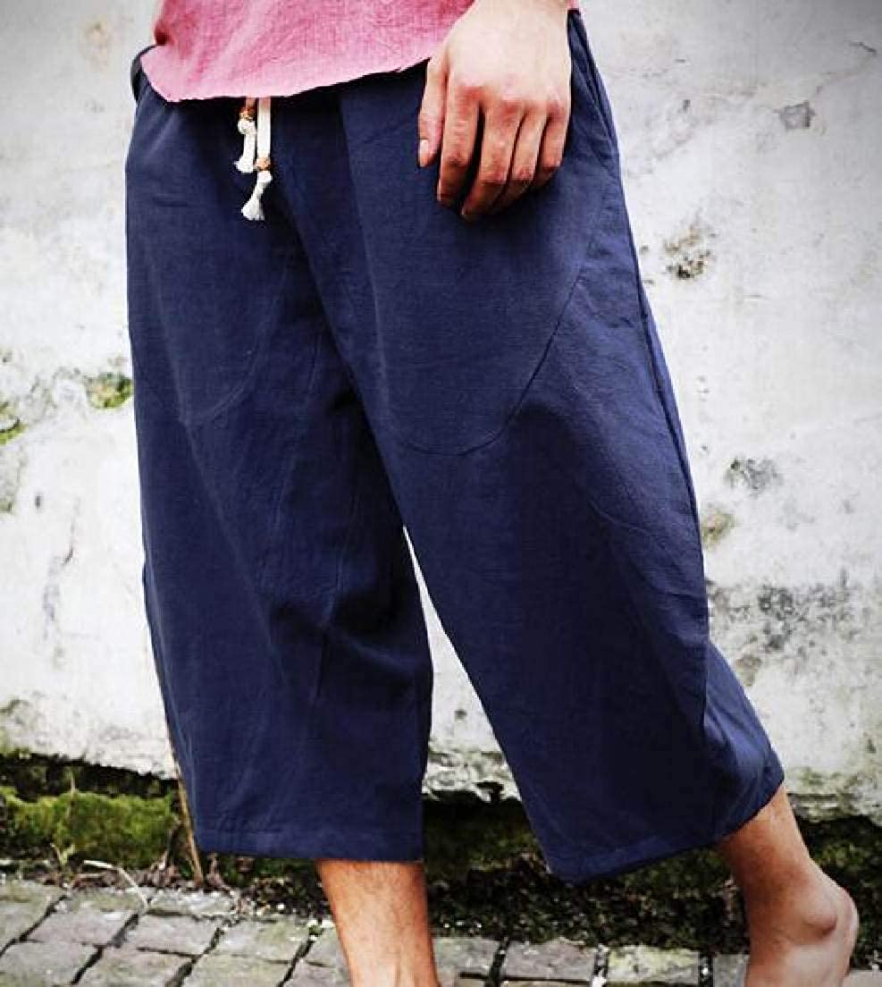 Domple Mens Linen Drawstring Big /& Tall Solid Baggy Loose Fit Cropped Pants