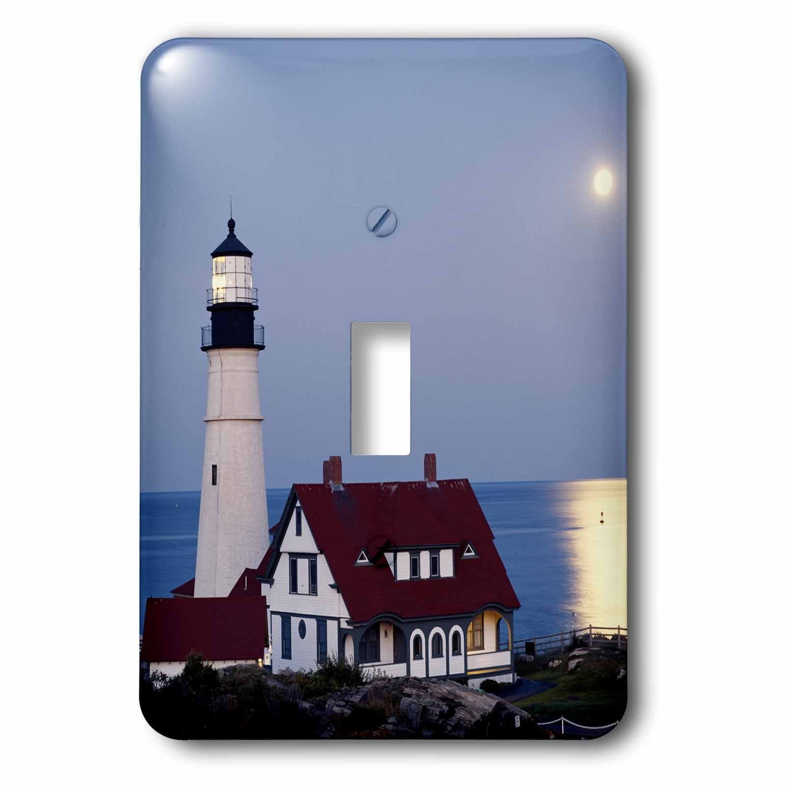 Danita Delimont - Walter Bibikow - Lighthouses - USA, Maine, Portland, Cape Elizabeth, Lighthouse with full moon. - Light Switch Covers - single toggle switch (lsp_192160_1)