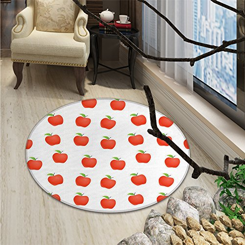 Apple Round Area Rug Delicious Juicy Apples in Cartoon Style Vegetarian Natural Nutritious FoodOriental Floor and Carpets Vermilion Green White ()